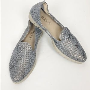 The Flexx Silver Woven Flats in a size 8